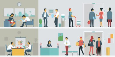 Flat design of bussiness people or office workers in interior building, various characters, actions and activities. stock vector