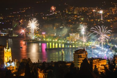Fireworks over the night a beautiful city