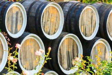 Wine barrels in open air