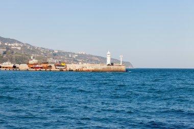 Spring sun day panorama of Black Sea