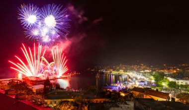 Fireworks night at Yalta. Crimea. Day of city