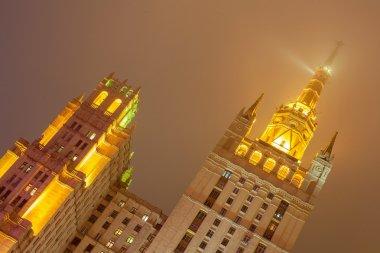Skyscraper in night on the Kudrinskaya Square.