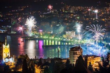 Night view and firework at Yalta city, Crimea