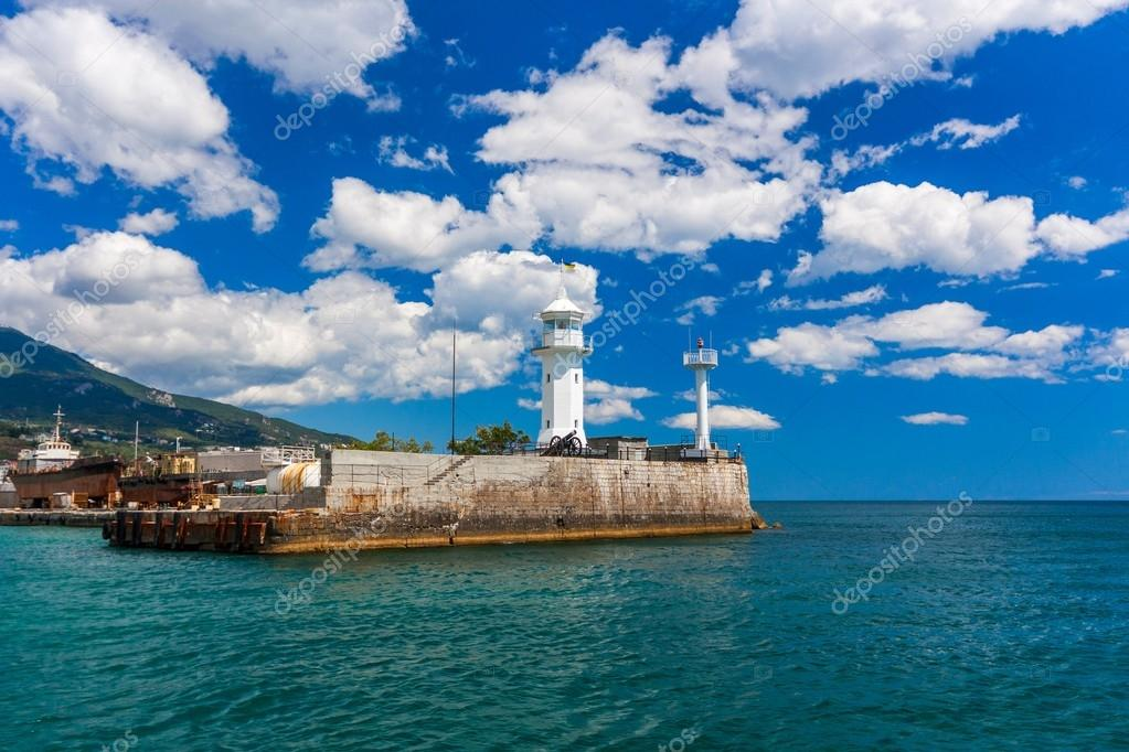 A view of the lighthouse in Yalta. Yalta. Crimea