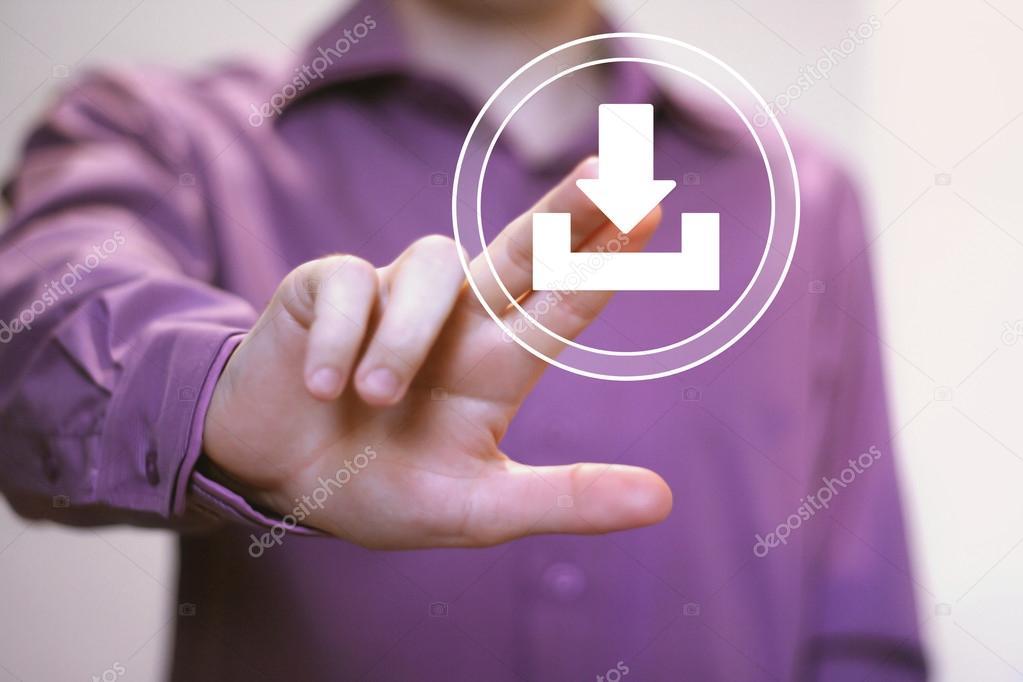 Businessman pushing web button download