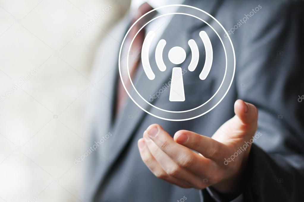 Business button sign Wifi web connection signal icon