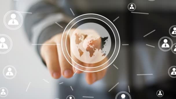 Businessman touch button interface map