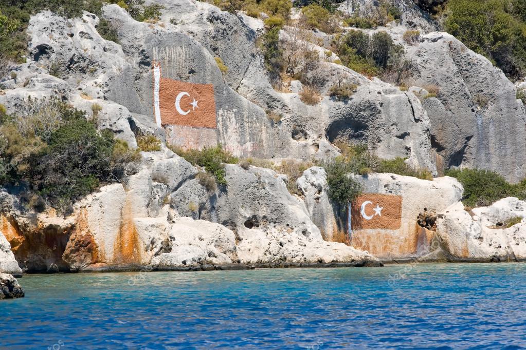 Kayanın üzerinde Türk Bayrağı Boyama Stok Foto Sunselle 122957030