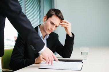 Businessman listen to his boss