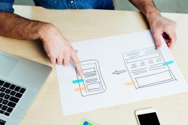 Web designer designing a responsive app