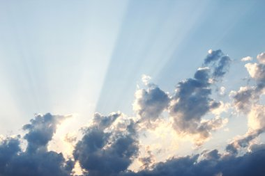 Sky, clouds and sunbeams