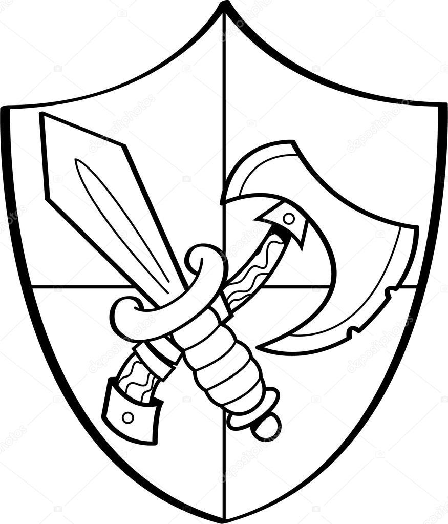 dibujos animados espada y el hacha en un escudo — Vector de stock ...