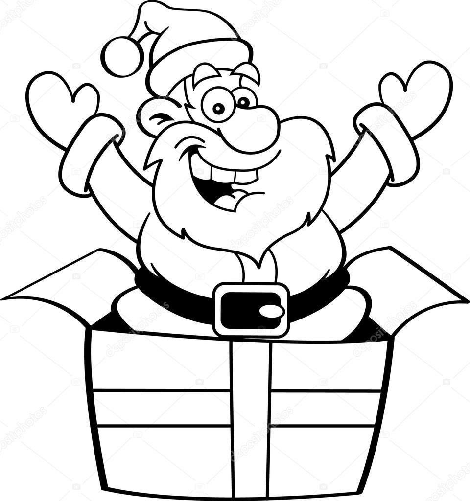Desenho Animado Papai Noel Pulando De Uma Caixa De
