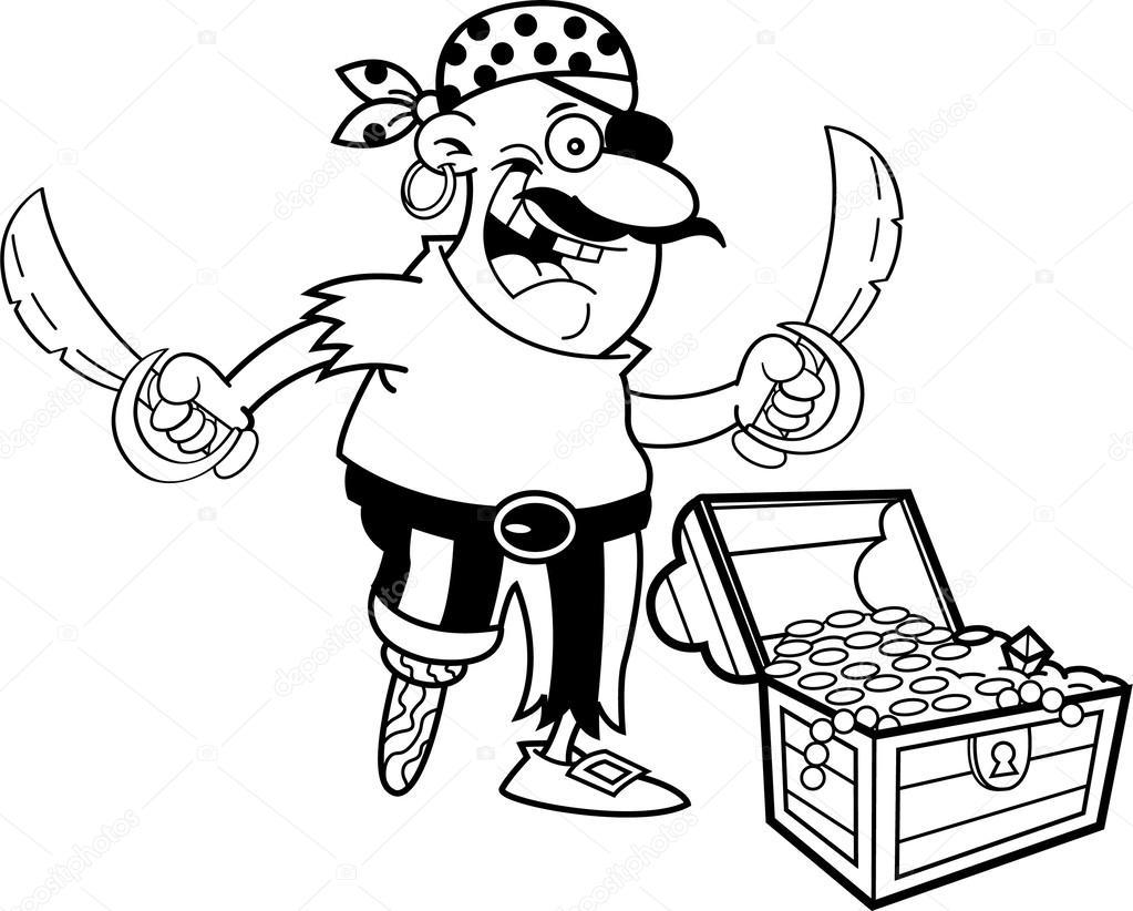 Pirate dessin anim avec un coffre au tr sor image - Dessin de coffre de pirate ...