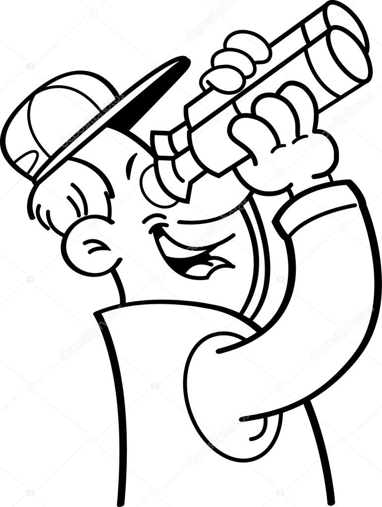 Cartoon man looking through binoculars. — Stock Vector ...