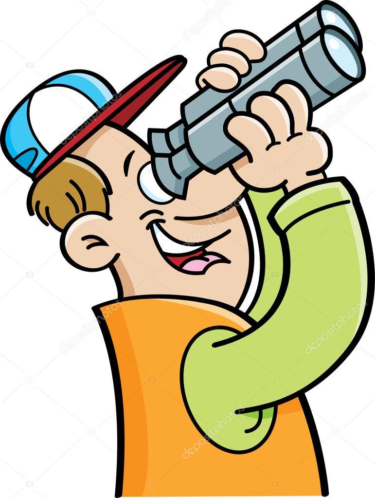 Cartoon man looking th...