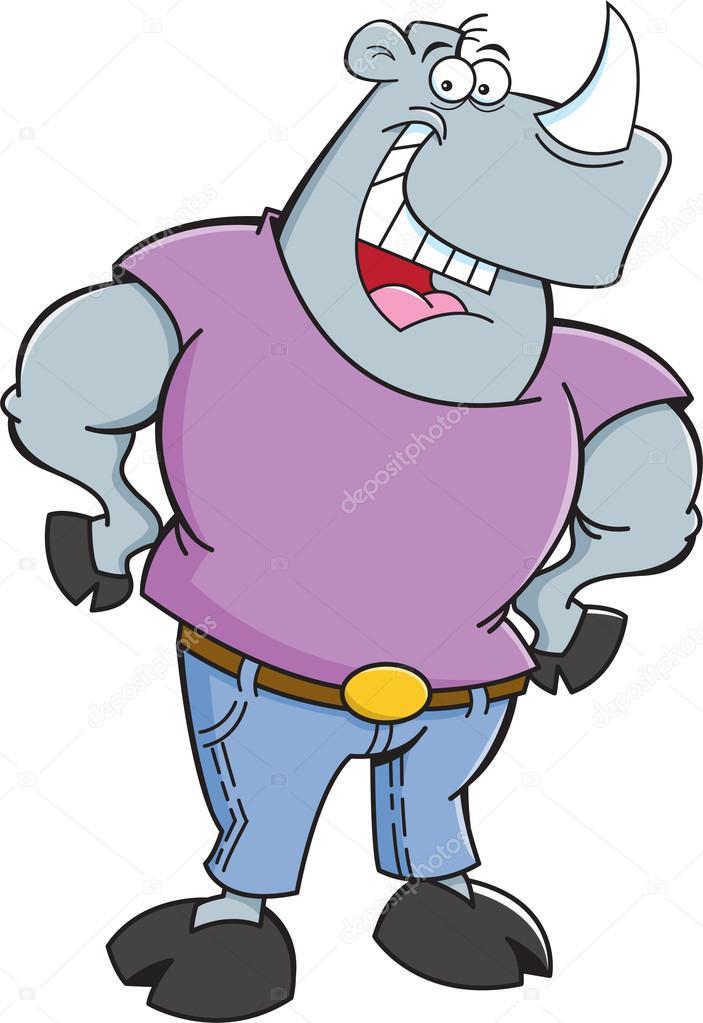 Cartoon Rhino Wearing Jeans