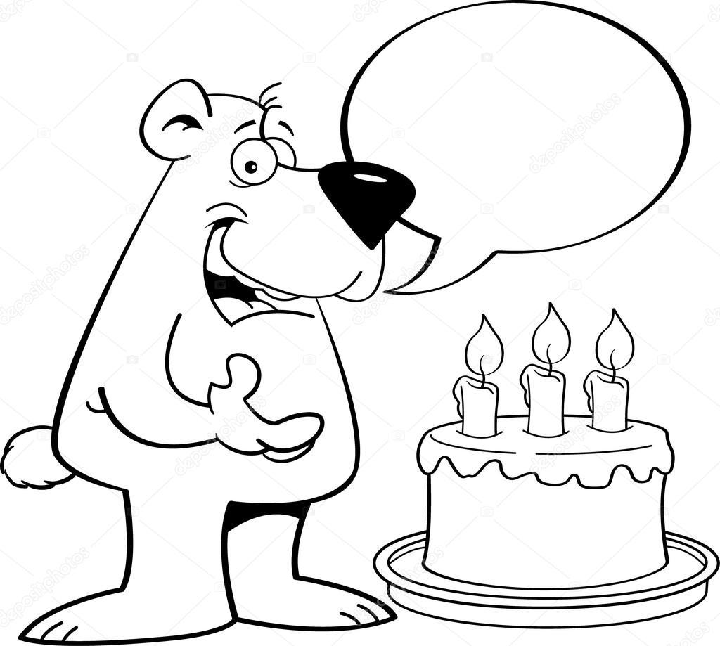 Oso de dibujos animados con un globo del discurso y un pastel de ...