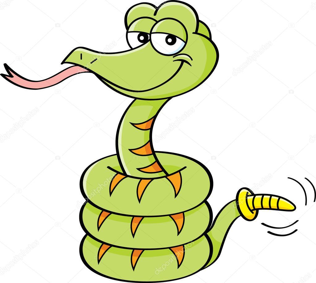 serpiente de cascabel de dibujos animados — Archivo Imágenes ...