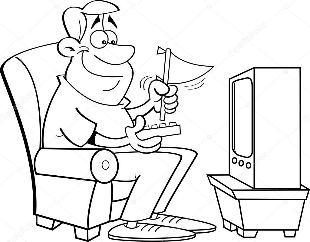 Vector Hombre Viendo Dibujo De Televisión Hombre De Dibujos
