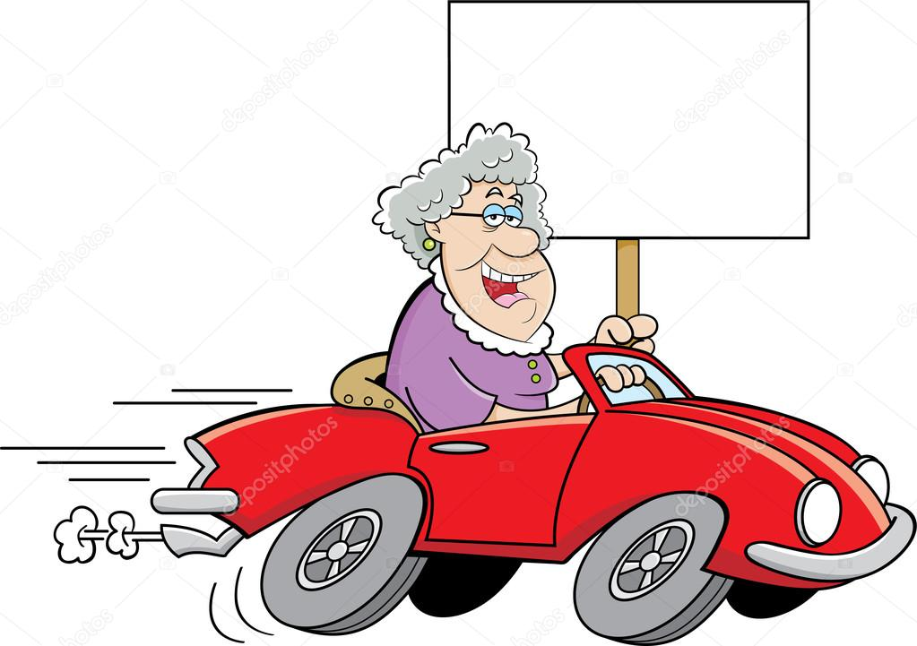Old lady driving car | Cartoon old lady driving a sports ... (1023 x 721 Pixel)