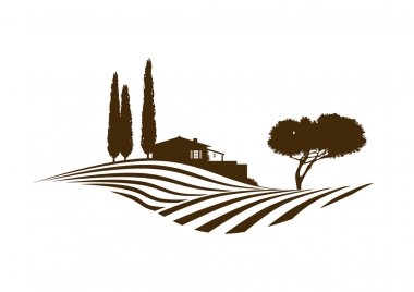mediterranean rural vector landscape