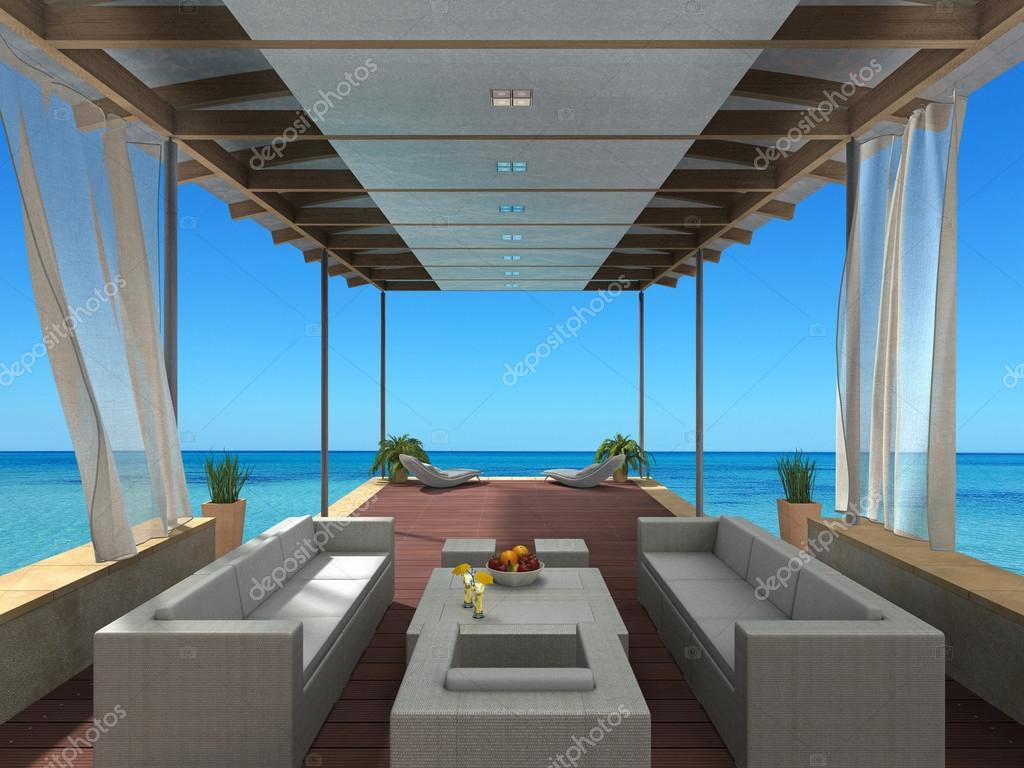 kust vakanties lounge interieur met uitzicht op de zee — Stockfoto ...