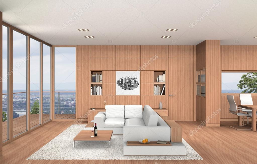 Moderne woonkamer en eetkamer interieur met beukenhout u stockfoto