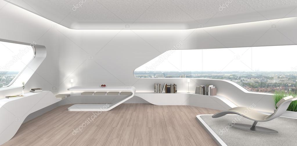 futuristische woonkamer interieur — Stockfoto © numismarty #122492886