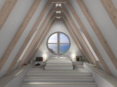 Attic bedroom interior
