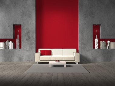 Modern living room with maroon wall