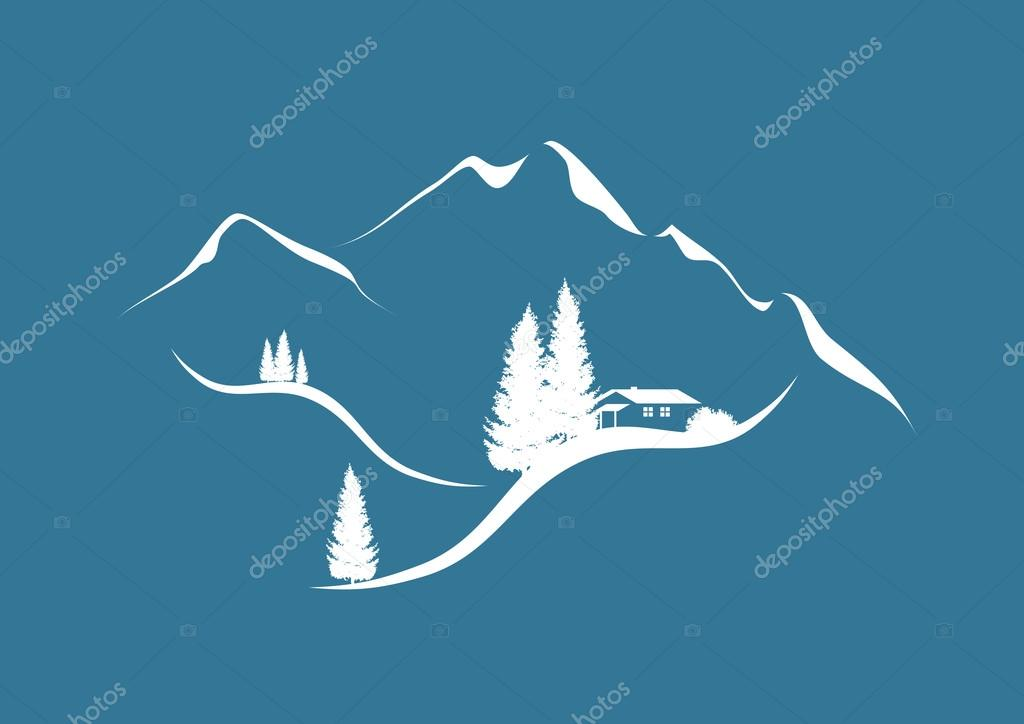 winter time in mountain landscape with hut and firs