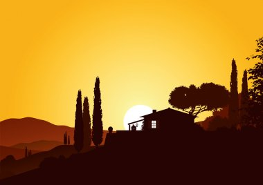 Holiday home in beautiful mediterranean landscape stock vector