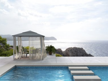 seaside swimming pool with pavilion