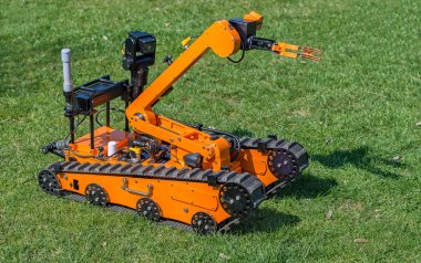 Bomb disposal robot on grass
