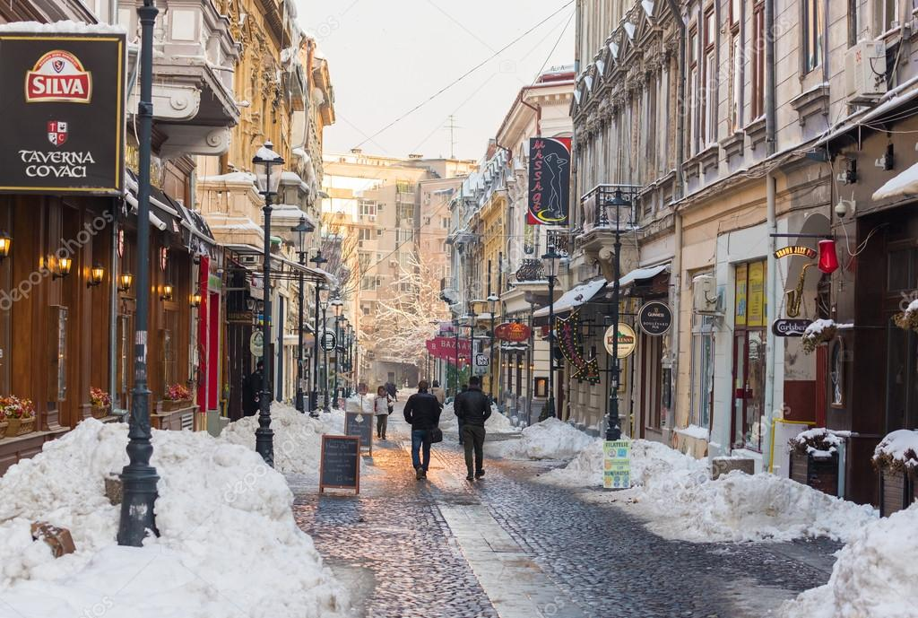 Bucharest Town Editorial Image Image Of Bucharest: Covaci Street In Bucharest Old Town During Winter Season