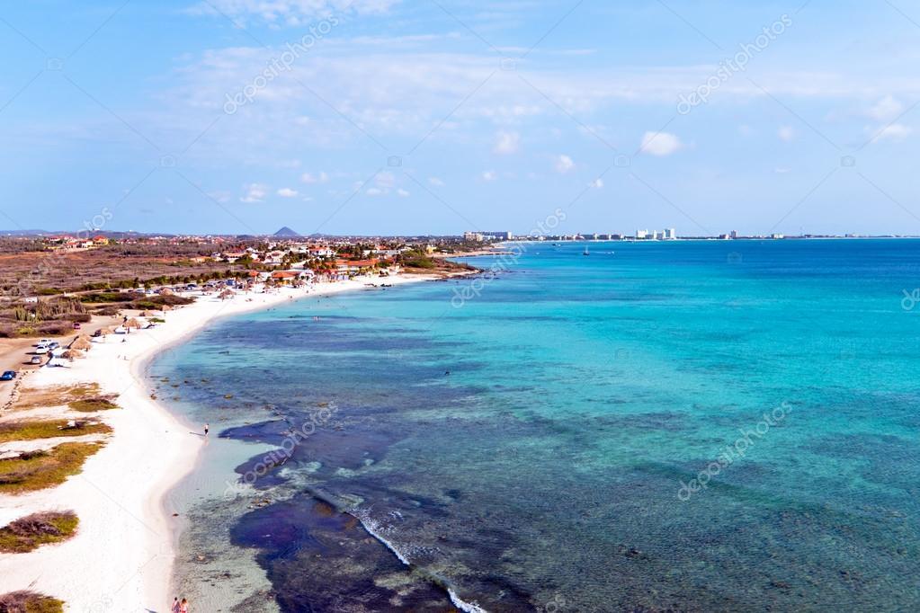 Aerial from Boca Catalina on Aruba island in the Caribbean Sea