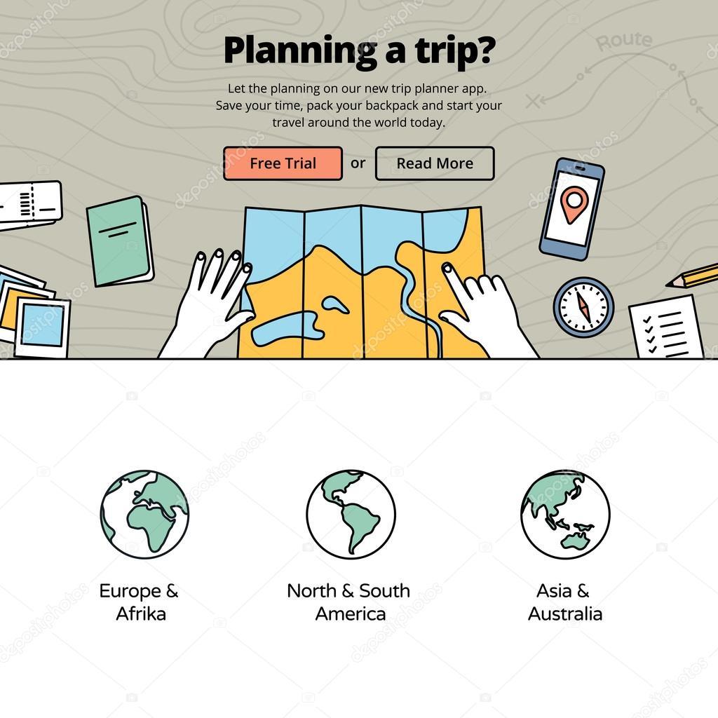 vous planifiez un voyage avec une application de planificateur de voyage image vectorielle. Black Bedroom Furniture Sets. Home Design Ideas