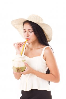 summer woman drinking fresh coconut juice