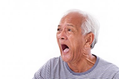 shocked, stunned, unhappy old man with surfers eye