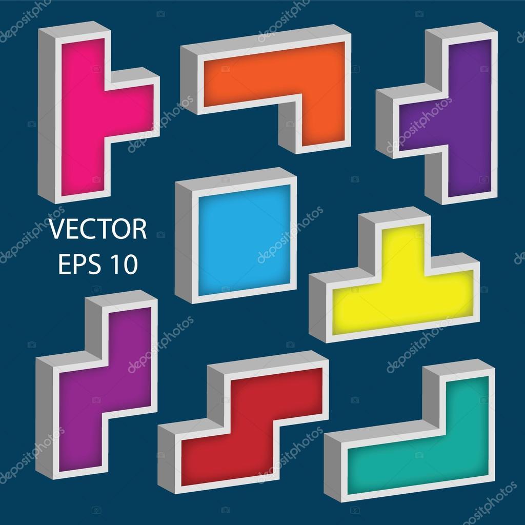 Juego De Cubos De Colores 3d Conjunto De Diseno De Vector De 3d