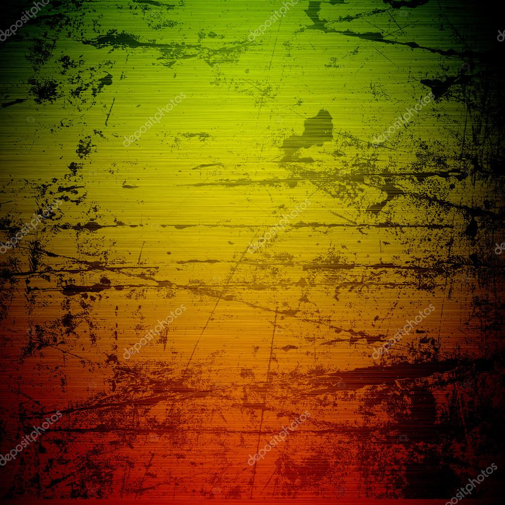 grunge background reggae colors green yellow red � stock
