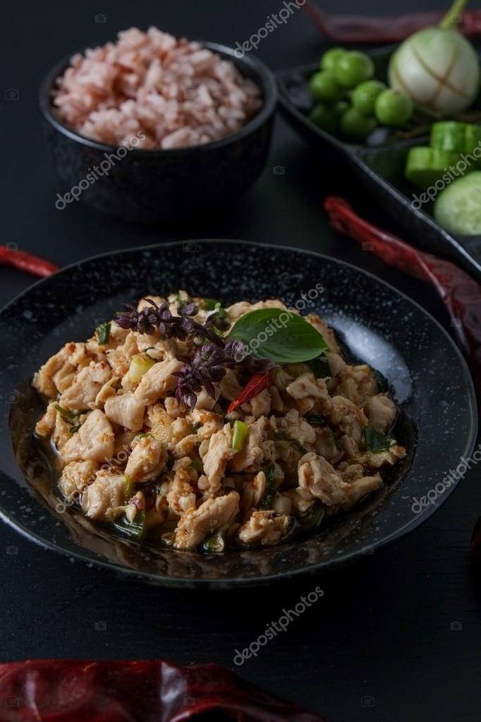 Thai Food Spicy Minced Chicken Stock Photo Nattapol 120111014