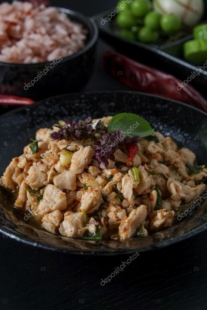 Thai Food Spicy Minced Chicken Stock Photo Nattapol 120385994