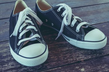 black sneakers with filter effect retro vintage style