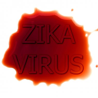 Abstract virus image on backdrop and zika fever text