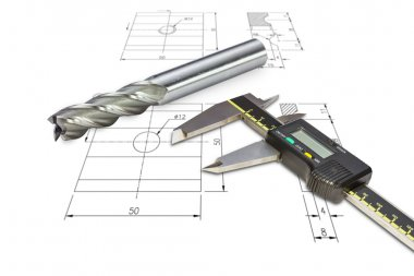 Digital vernier calipers and end mill cutter