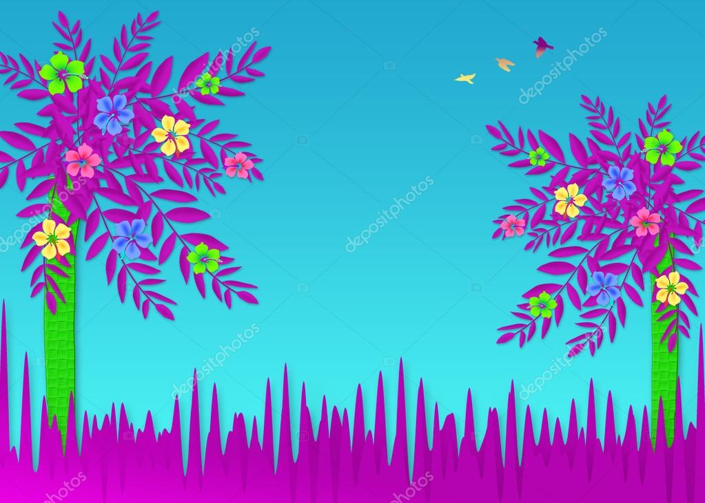 Fun and Bright Tropical Abstract Flowers Background