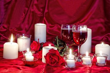 Romantic Image of Wine, Red Roses and Candles
