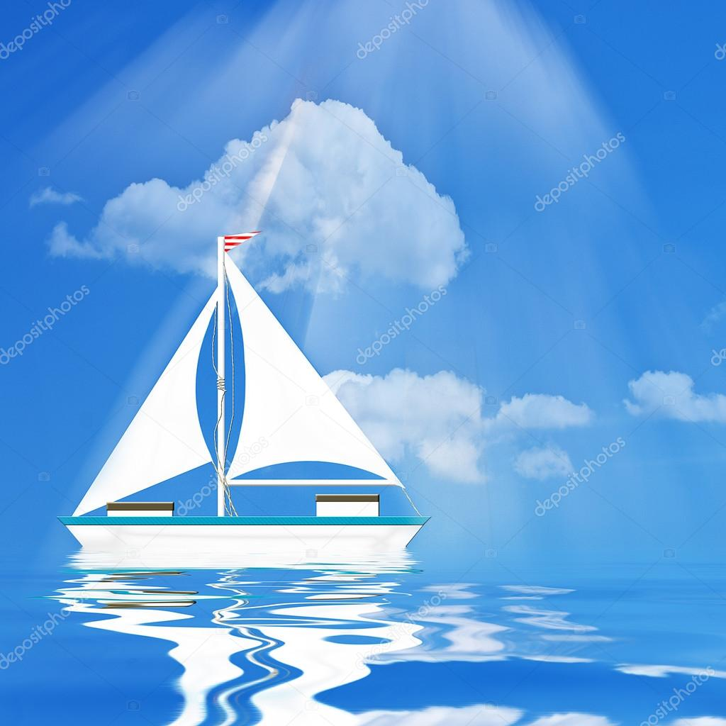 Sail Boat Illustration in Blues
